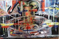 Gehirn, Gedanken, Karussell, Malerei