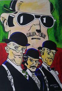 Zylinder, Gentleman, Comic, Malerei