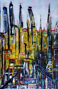 Großstadt, Metropole, Stadt, Malerei
