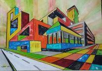 Perspektive, Architektur, Farben, Bunt