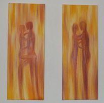 Figur, Paar, Ölmalerei, Abstrakt