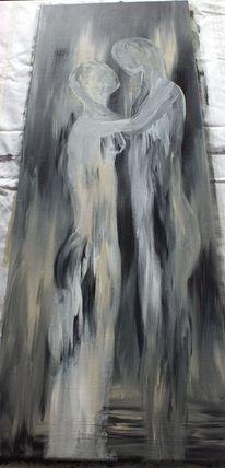 Liebe, Schwarz weiß, Gefühl, Ölmalerei