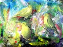 Ölmalerei, Vogel, Grünfinken, Strauch