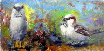 Ölmalerei, Spatz, Haussperling, Studie