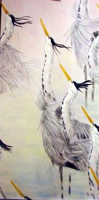 Tiere, Ölmalerei, Vogel, Graureiher