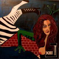 Frau, Akt, Zebra, Geggo