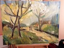 Gegensatz, Herbst, Weg, Malerei