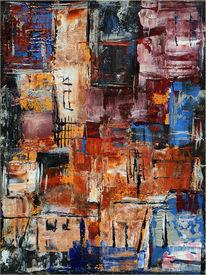 Abstrakt, Acrylmalerei, Spachtel, Farben