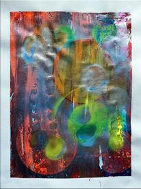 Acrylmalerei, Rot, Airbrush, Blau