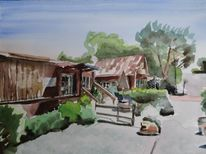 Olivos, Kalifornien, Cafe, Aquarell