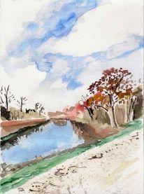 Donau damm, Aquarell