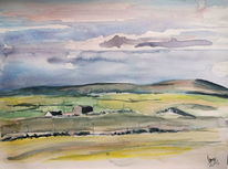 Irland, Bauernhof, County clare, Aquarell