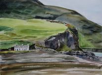 Waterville, Aquarell, Haus