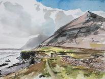 Island küste djupivogur, Aquarell, Küste