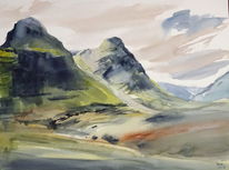 Schottland, Highlands, Glencoe, Aquarell