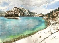 Walchensee winter, Aquarell, Winter