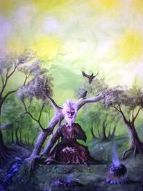 Fantasie, Rabe, Menschen, Wald