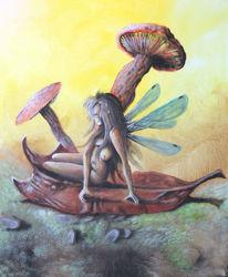 Acrylmalerei, Pilze, Herbst, Fee