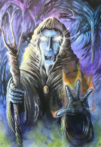 Acrylmalerei, Malerei, Zauberer, Dunkel