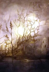 Fantasie, Burg, Acrylmalerei, Herbst