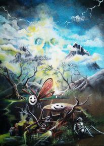 Baum, Blau, Maske, Berge