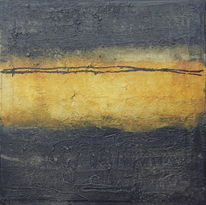 Acrylmalerei, Tuschmalerei, Schwarz, Ocker