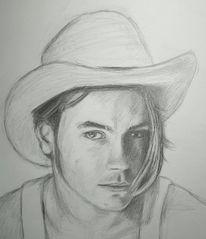 Hut, Bleistiftzeichnung, Zeichnung, Fluss