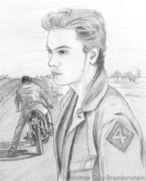 Mann, Motorrad, Straße, Zeichnungen