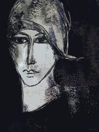 Schwarzweiß, Ausdruck, Nachsehen, Gesicht
