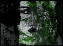 Schwarz, Grün, Grau, Mischtechnik