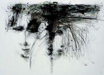 Gesicht, Schwarzweiß, Surreal, Malerei