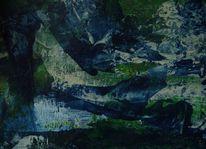 Fantasielandschaft, Tiefe, Grün, Blau