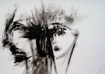 Schwarzweiß, Gesicht, Blick, Verletzen