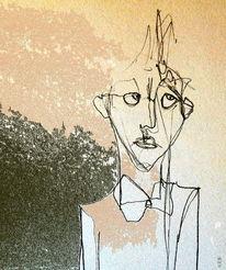 Skurril, Ausdruck, Gras, Gesicht
