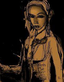 Sepia, Gesicht, Schwarz, Surreal