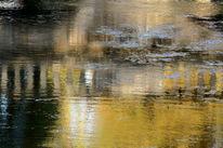 Gold, Brücke, Spiegelung, Silber