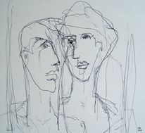 Skizze, Gesicht, Paar, Zeichnungen