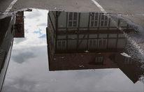 Haus, Alltag, Spiegelung, Wolken