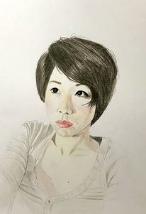Portrait, Mädchen, Malerei,
