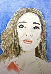 Portrait, Lächeln, Mädchen, Malerei