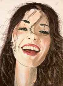 Mädchen, Portrait, Lachen, Malerei