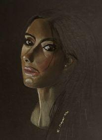 Portrait, Mädchen, Augen, Malerei