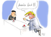 Nordkorea, Trump, Karikatur, Cartoon