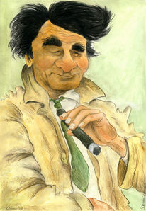 Karikatur, Cartoon, Columbo, Zeichnungen