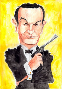 Sean connery, Karikatur, James bond, Aquarell
