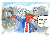 Berge, Gera, Karikatur, Rushmore
