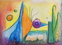 Natur, Bunt, Landschaft, Aquarellmalerei