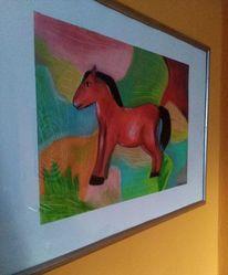 Bunt, Pferde, Rot, Zeichnungen