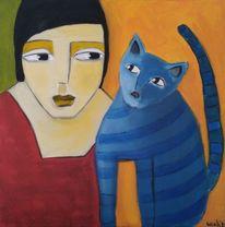 Kater, Frau, Blau, Malerei
