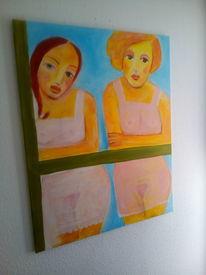 Warten, Mädchen, Akt, Malerei